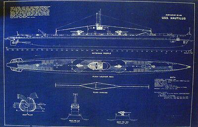 "USN Diesel Submarine USS NAUTILUS SS168-N2 WW2 Blueprint Plan 20""x32""  (051)"