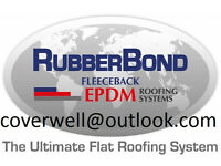 Flat roof leaks solved permanently with RubberBond FLEECEBACK EPDM membrane, supplied & Installed