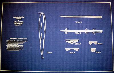 Vintage Surfboard Plan 1944 Long Beach California 14x22  (244)