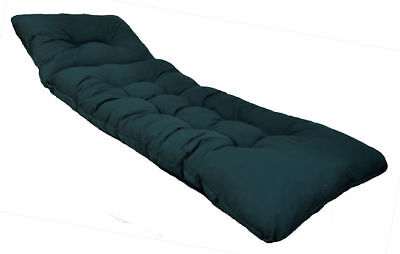 New Deluxe Thick Replacement Garden Patio Sun Bed Lounger Cushion Dark Green