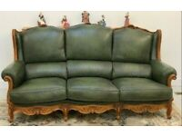 Vintage italian leather queen anne chesterfield 3 piece suite