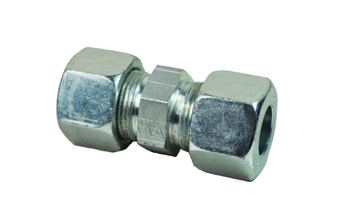Hydraulic Compression Equal Tube Connector 6mm 6L DIN2353 Pk2