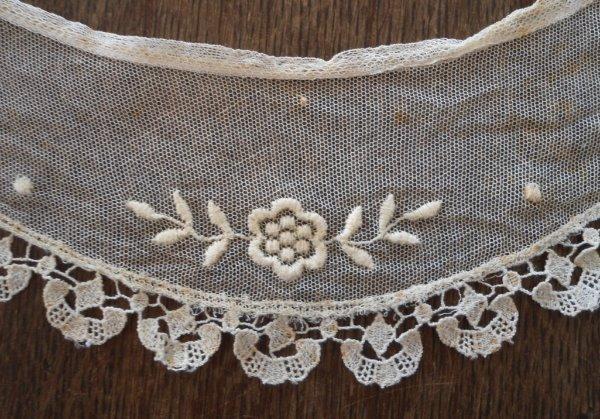 Vintage Embroidered Net Lace Collar Ecru Floral Trim Schiffli Edge Cotton