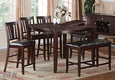 6PC DENHAM CHERRY FINISH WOOD COUNTER DINING TABLE SET BUTTERFLY LEAF BENCH