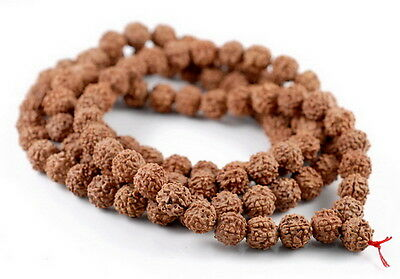 8mm Seed Beads - 8mm Natural Rudraksha Bodhi Seed Mala Meditation 108 Beads Red Brown Round 35