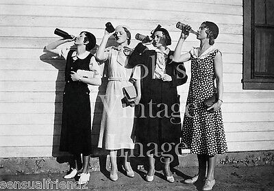 Vintage Stylish Ladies Drinking Booze Photo 1925 Flappers Jazz Prohibition era