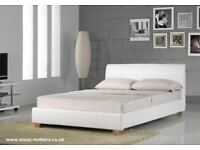 Sleep In Comfort-Leather Bed Frame in Black, Brown and White Color With Mattress Choices