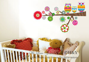 Owl-Tree-Wall-Deco-Vinyl-Sticker-Decal-Decor-Removable-Nursery-Art-Girls-Mural