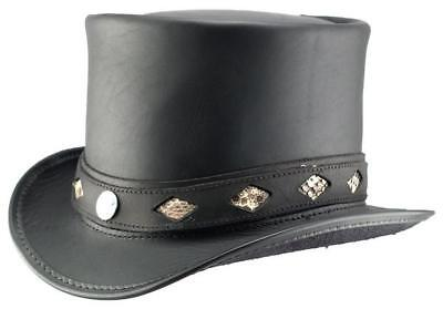 Head'n Home Topper Black Leather Diamond Inlay Top Hat Mad H