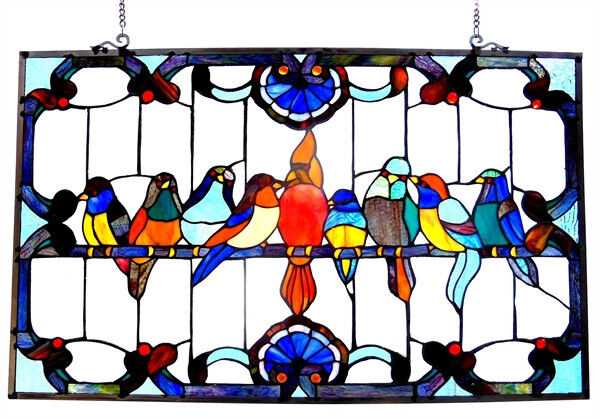 "Stained Glass Window Panel 32"" Long x 20"" High   VERY COLORFUL Singing Birds"