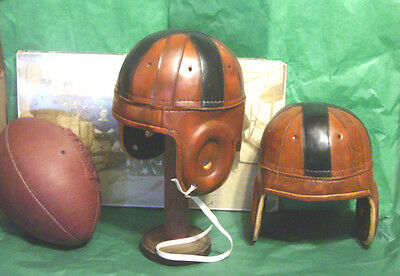 1920-30s Black Cross  Leather Football Helmet 8 strap Full Size B