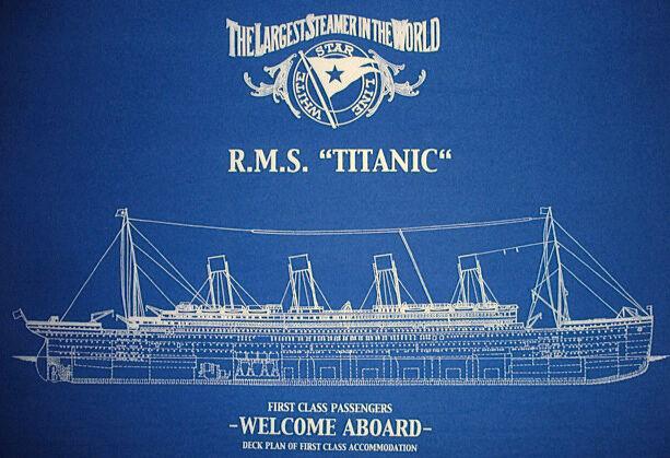 Vintage White Star Line TITANIC Print 1st Class Blueprint Plan 19