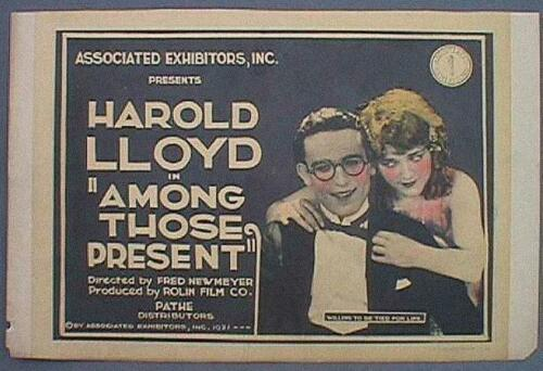 AMONG THOSE PRESENT HAROLD LLOYD ORIGINAL TITLE CARD 1921