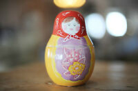 "Russian Doll Glass Measuring Set of 3  ""Baba"" doll!!"