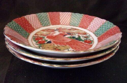"3 Arita Imari Peacock Salad Soup Bowls 7 5/8"""