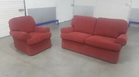 M&S Red Fabric Sofa Set