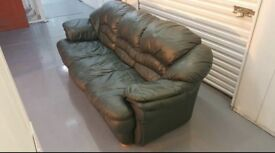 Large 3 seater Racing Green Real Leather sofa