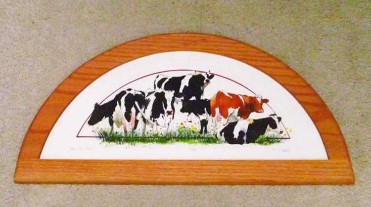 Darlene Hardie Five Cow Stud Limited Edition Framed Etching Wall Art