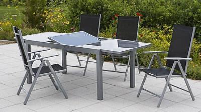 Merxx Gartenmöbel-Set Amalfi 5-teilig, Ausziehtisch 140 (200) x 90 cm schwarz