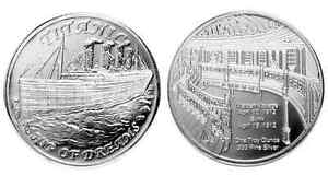 1 - 1 oz. 999 Fine Silver Round - Titanic  Design with reeded edges - BU