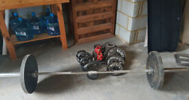 Olympic Lifting Bar with complete set of weights including kettle bells for quick sale- 100kg set
