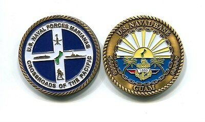NAVAL BASE GUAM MARIANAS CHALLENGE COIN US NAVY Base Squadron Has Patch Image