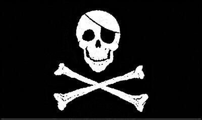 "NEU Fahne  Schwarz mit ""Jolly Roger"" Druck Totenkopf  Flagge  90x150 cm flag"