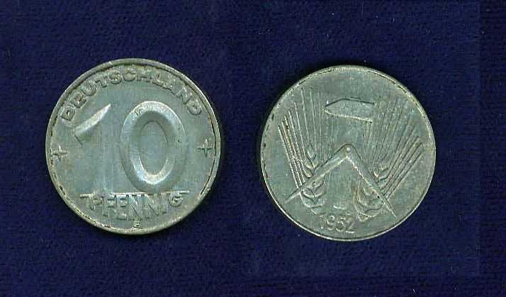 GERMANY (EAST)  1952-E  10 PFENNIG COIN, XF+
