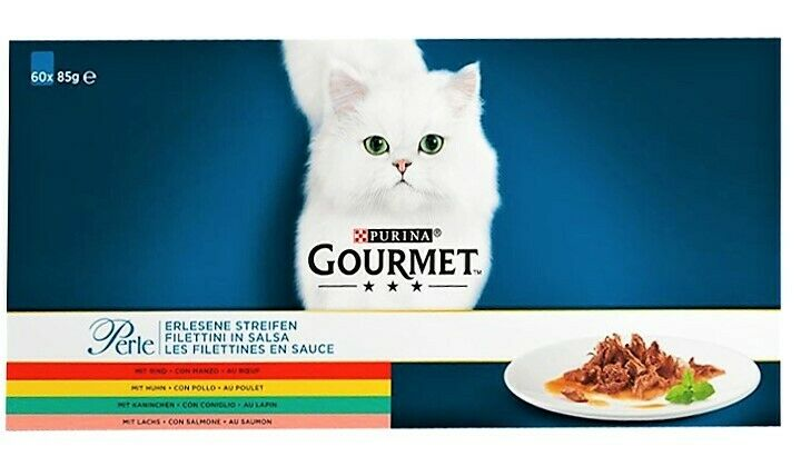 Gourmet Perle Katzennassfutter Erlesene Streifen in Soße (60 Portionen à 85 g)