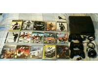 PlayStation 3 - PS3 with 3 controllers, 15 games and racing wheel