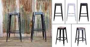 Tolix Style Bar Stool Barstool Wooden Wood Restaurant Industrial