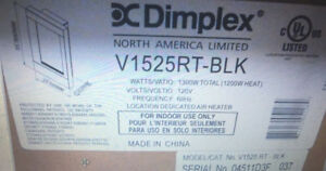Dimplex 1300 Watt Recessed Wall Mount Electric Fireplace V1525rt