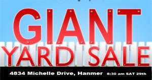 Giant Yard Sale 4834 Hanmer Sat 29th