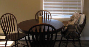 Solid Wood Dining Table with 4 Chairs