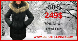 BRAND NAMED DUVET WINTER COATS WITH REAL FUR ON SALE!!