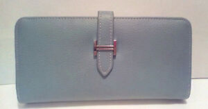 HERMES:  Blue Jean Bearn Zip Around Wallet