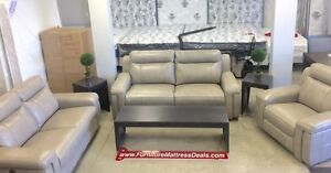 New 3pce power reclining pewter leather set w/ USB chargers