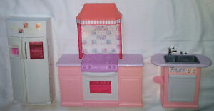 3 Piece Pink Barbie Doll Kitchen Set - Fridge, Stove / Oven Sink London Ontario image 1