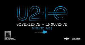 2 billets collés pour U2 pour mercredi le 6 juin au Centre Bell