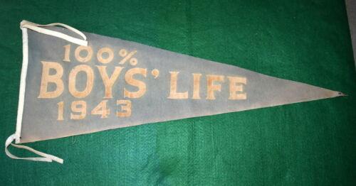 VINTAGE BOY SCOUT FELT PENNANT - 1943- 100% BOYS