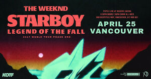 THE WEEKND ROGERS ARENA APR 25 SEC 107 FACE VALUE!