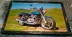 2 Classic Suzuki motorcycle pics - mounted, ready to display