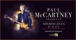 PAUL MCCARTNEY Freshen Up Tour Saturday July 6th - LOWER BOWL!