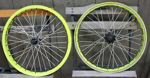 Odyssey Hazzard Light Neon Green Freecoaster Wheelset 20""