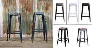 Tolix Style Bar Stool Barstool Wooden Wood Restaurant Industrial