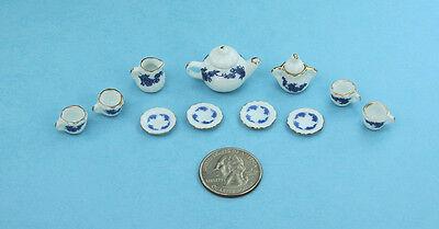 NICE Dollhouse Miniature Porcelain Tea Set with Dark Blue Floral Design #ZHB010