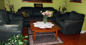 Couch, loveseat and chair, green.