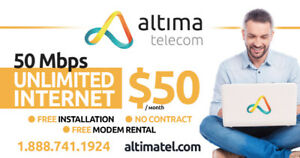 50MBPS for 50$/Month Unlimited Internet and Free Installation