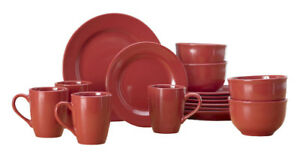 16-Pc. Stoneware Dinnerware Set-Red/Orange, New