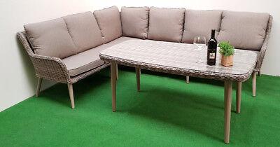 Gartenmöbel Dining-Eck-Lounge Retro Mixed grey 16tlg Polyrattan grau